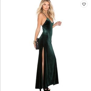 Hunter Green Velvet Maxi Dress